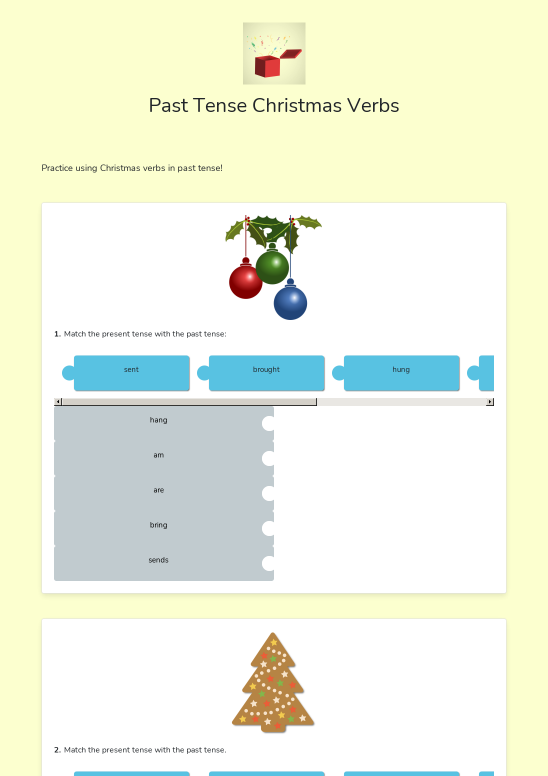 Past Tense Christmas Verbs - Worksheet Thumbnail