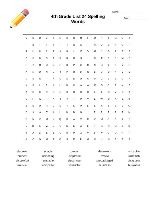 4th Grade List 24 Spelling Words - Worksheet Thumbnail