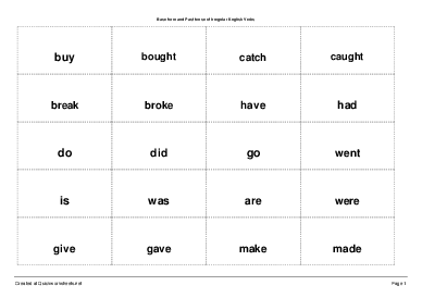 Base form and Past tense of Irregular English Verbs - Small Cards ...