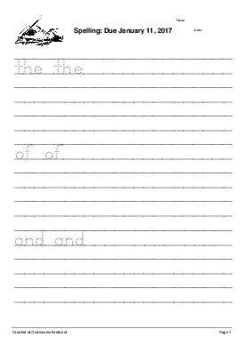 Spelling: Due January 11, 2017  - Worksheet Thumbnail