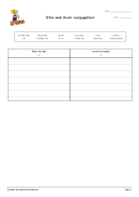 Etre and Avoir conjugation - Worksheet Thumbnail