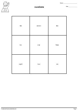 numbers - Worksheet Thumbnail