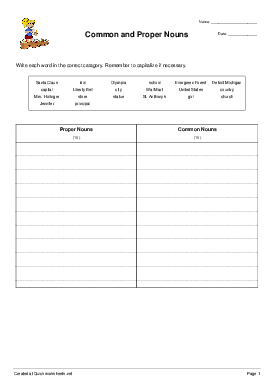 Common and Proper Nouns - Worksheet Thumbnail