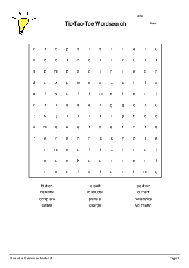 Tic-Tac-Toe Wordsearch - Worksheet Thumbnail