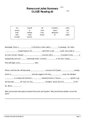 Romeo and Juliet Summary CLOZE Reading #2 - Worksheet Thumbnail