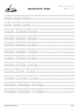 Letterland Unit Six - Braden - Worksheet Thumbnail