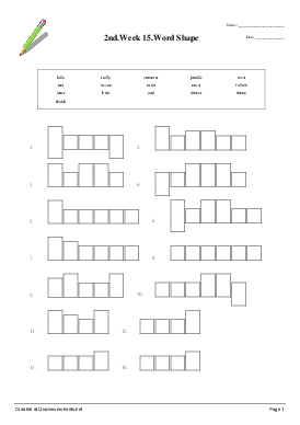 2nd.Week 15.Word Shape - Worksheet Thumbnail