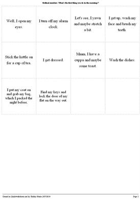 Ordinal numbers: What's the first thing you do in the mornings? - Worksheet Thumbnail