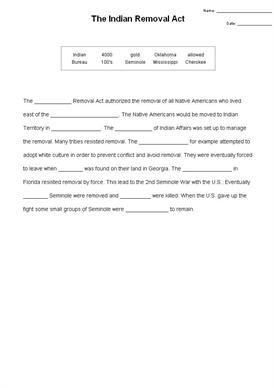 The Indian Removal Act - Cloze Test - Quickworksheets.net