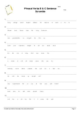 Phrasal Verbs B & C Sentence Scramble - Worksheet Thumbnail