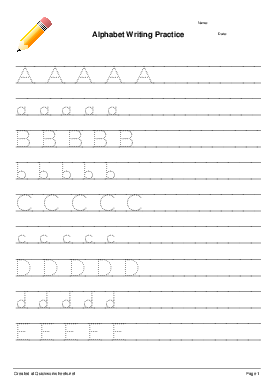 Alphabet Writing Practice - Worksheet Thumbnail