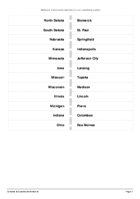 Midwest States And Capitals   Worksheet Thumbnail