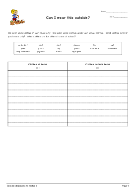 Can I wear this outside? - Worksheet Thumbnail