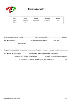 Chromotography - Worksheet Thumbnail