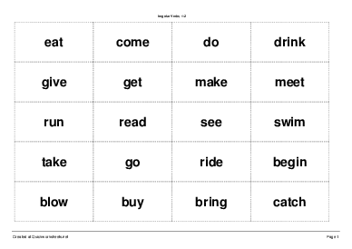 Iregular Verbs 1-2 - Worksheet Thumbnail