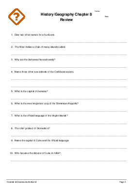 History/Geography Chapter 8 Review - Worksheet Thumbnail