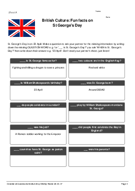 British Culture: Fun facts on St George's Day - Worksheet Thumbnail